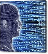 Printed Circuit Board And Wireframe Head Acrylic Print by Pasieka