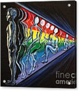Projection With Rainbow Scroll Border Acrylic Print