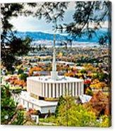 Provo Temple Pine Frame Acrylic Print