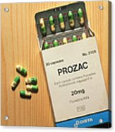 Prozac Pack With Pills On Wooden Surface Acrylic Print