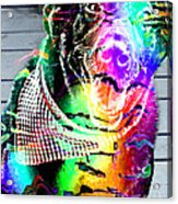Psychedelic Black Lab With Kerchief Acrylic Print