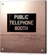 Public Phone Booth Acrylic Print