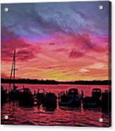 Punta Gorda Sunset Acrylic Print by Sandy Poore