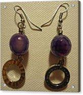 Purple Doodle Drop Earrings Acrylic Print