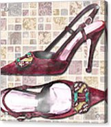 Purple Pumps On Terrazzo Tiles Acrylic Print