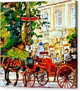 Quebec City Street Scene The Red Caleche Acrylic Print