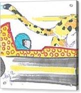 Race Car And Cheetah Cartoon Acrylic Print