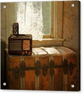 Radio And Camera On Old Trunk Acrylic Print