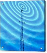 Radio Mast With Radio Waves Acrylic Print