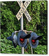Railroad Crossing Light And Greenery Acrylic Print