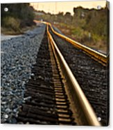 Railroad Tracks At Sundown Acrylic Print