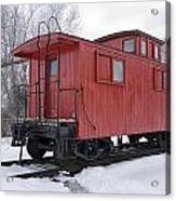 Railroad Train Red Caboose Acrylic Print
