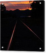 Rails Into The Rogue Sunset Acrylic Print