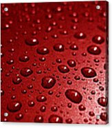 Rain Drops Bloody Red  Acrylic Print