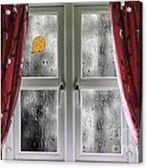 Rain On A Window With Curtains Acrylic Print