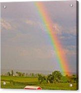 Rainbow And Red Barn Acrylic Print