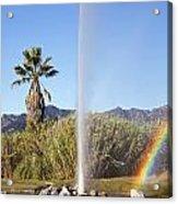 Rainbow At Old Faithful Acrylic Print
