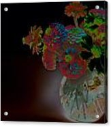 Rainbow Flowers In Glass Globe Acrylic Print by Padre Art