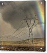Rainbow Forms Over Powerlines Acrylic Print