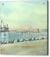 Rainbow Harbor And The Oil Island Acrylic Print