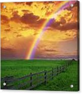 Rainbow In Country Field With Gold Acrylic Print