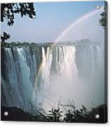 Rainbow In Front Of Victoria Falls Acrylic Print