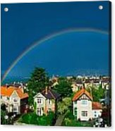 Rainbow Over Housing, Monkstown, Co Acrylic Print