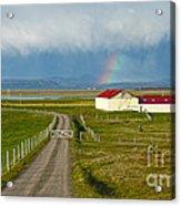 Rainbow Over Iceland Farm Acrylic Print