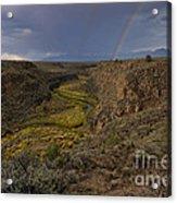Rainbow Over The Rio Pueblo Acrylic Print