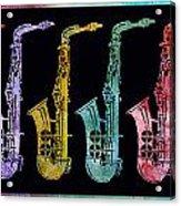 Rainbow Saxophones  Acrylic Print