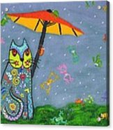 Raining Frogs On Kittyboy Acrylic Print