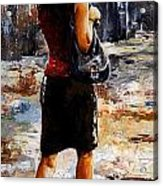 Rainy Day - Woman Of New York 04 Acrylic Print by Emerico Imre Toth