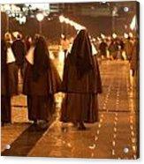 Rainy Night Nuns Acrylic Print