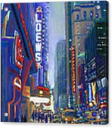 Rainy Reflections In Times Square Acrylic Print