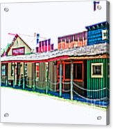 Ranch Buildings - Hdr White Acrylic Print