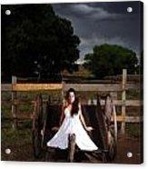 Ranch Woman On Wagon Acrylic Print