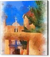 Ranchos Church Gate - Aquarell Acrylic Print