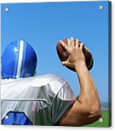 Rear View Of A Football Player Throwing A Football Acrylic Print