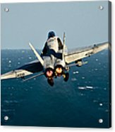 Rear View Of An Fa-18c Hornet Taking Acrylic Print