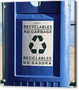 Recycling Bin Acrylic Print by Photo Researchers, Inc.