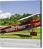Red 1923 Fokker Civa Vintage Biplane Photo Poster Print Acrylic Print