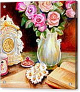 Red And Pink Roses And Daisies - The Doves Of Peace-angels And The Bible Acrylic Print
