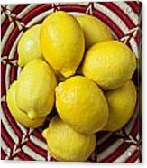 Red And White Basket Full Of Lemons Acrylic Print