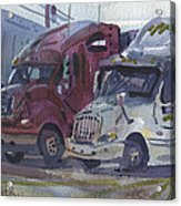 Red And White Trucks Acrylic Print
