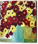 Red And Yellow Bouquet In Blue Acrylic Print