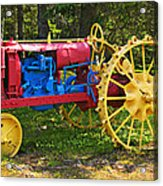 Red And Yellow Tractor Acrylic Print