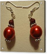 Red Ball Drop Earrings Acrylic Print
