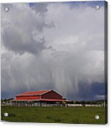 Red Barn And Stormy Sky Acrylic Print