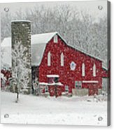 Red Barn In Heavy Snow Acrylic Print