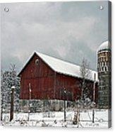 Red Barn In Winter Acrylic Print